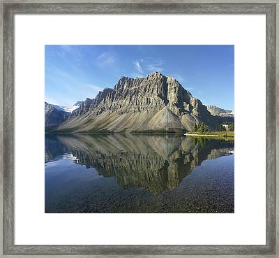 Bow Lake And Crowfoot Mts Banff Framed Print by Tim Fitzharris