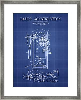 Bowers Radio Construction Patent From 1959 - Blueprint Framed Print by Aged Pixel