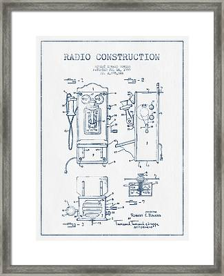 Bowers Radio Patent Drawing From 1959 - Blue Ink Framed Print by Aged Pixel