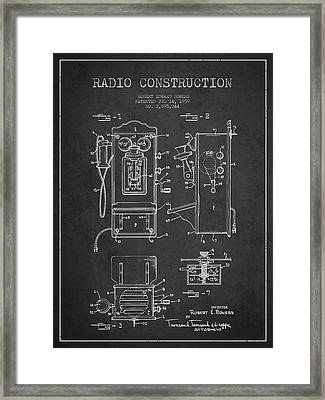 Bowers Radio Patent Drawing From 1959 - Dark Framed Print by Aged Pixel