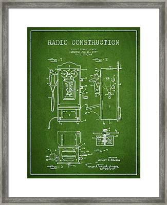 Bowers Radio Patent Drawing From 1959 - Green Framed Print by Aged Pixel
