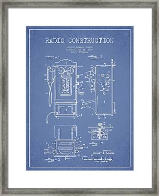 Bowers Radio Patent Drawing From 1959 - Light Blue Framed Print by Aged Pixel