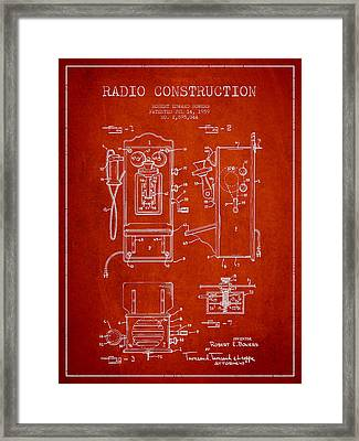 Bowers Radio Patent Drawing From 1959 - Red Framed Print by Aged Pixel