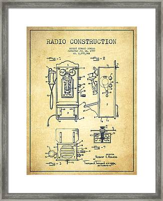 Bowers Radio Patent Drawing From 1959 - Vintage Framed Print by Aged Pixel