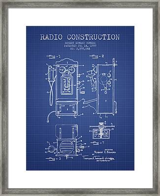Bowers Radio Patent From 1959 - Blueprint Framed Print by Aged Pixel