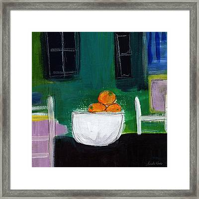 Bowl Of Oranges- Abstract Still Life Painting Framed Print by Linda Woods