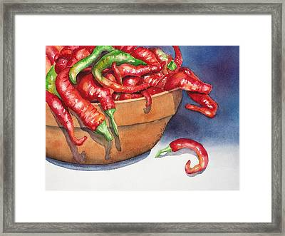 Bowl Of Red Hot Chili Peppers Framed Print by Lyn DeLano