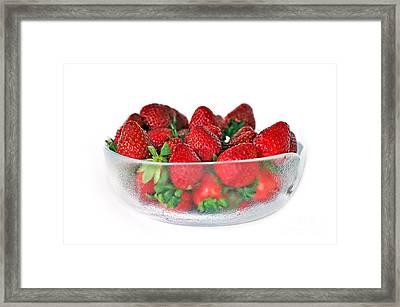 Bowl Of Strawberries Framed Print by Kaye Menner