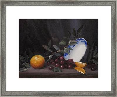 Bowl With Orange And Grapes Framed Print by Ellen Ebert