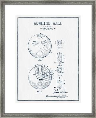 Bowling Ball Patent Drawing From 1949 - Blue Ink Framed Print by Aged Pixel