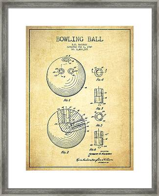 Bowling Ball Patent Drawing From 1949 - Vintage Framed Print by Aged Pixel