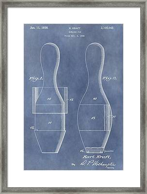 Bowling Pin Patent Framed Print by Dan Sproul