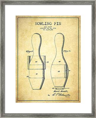 Bowling Pin Patent Drawing From 1938 - Vintage Framed Print by Aged Pixel