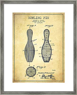 Bowling Pin Patent Drawing From 1939 -vintage Framed Print by Aged Pixel