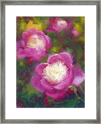 Bowls Of Beauty - Alaskan Peonies Framed Print by Talya Johnson