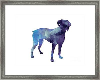 Boxer Art Print Silhouette Watercolor Painting Framed Print by Joanna Szmerdt