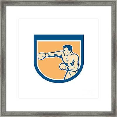 Boxer Boxing Punching Shield Cartoon Framed Print by Aloysius Patrimonio