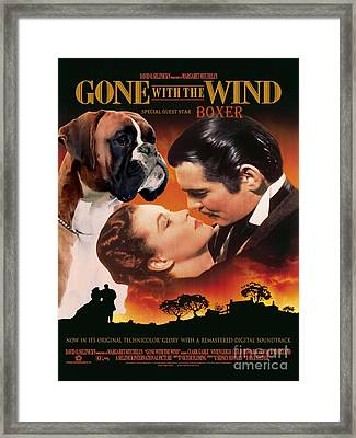 Boxer Dog Art Canvas Print - Gone With The Wind Movie Poster Framed Print by Sandra Sij