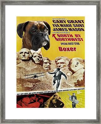 Boxer Dog Art Canvas Print - North By Northwest Movie Poster Framed Print by Sandra Sij