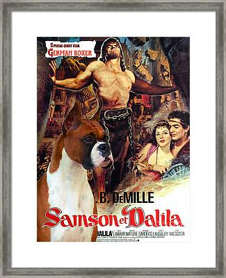 Boxer Dog Art Canvas Print - Samson And Delilah Movie Poster Framed Print by Sandra Sij