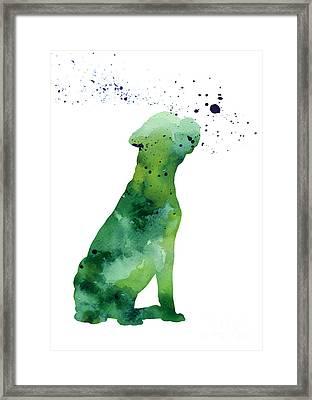 Boxer Dog Silhouette Large Poster Framed Print by Joanna Szmerdt