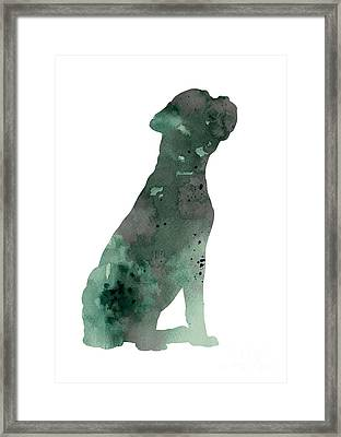 Boxer Figurine Painting Watercolor Art Print Framed Print by Joanna Szmerdt