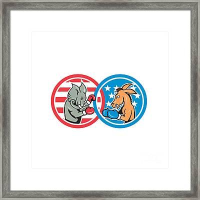 Boxing Democrat Donkey Versus Republican Elephant Mascot Framed Print by Aloysius Patrimonio