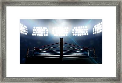 Boxing Ring In Arena Framed Print by Allan Swart