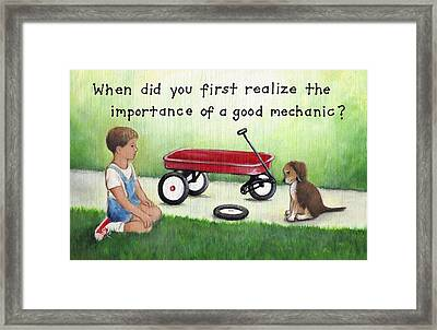 Boy And Dog With Broken Red Wagon Framed Print by Theresa Stites
