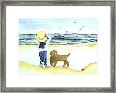 Boy And His Dog Framed Print by Marsha Heiken