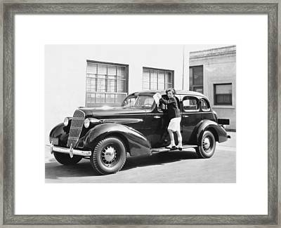 Boy Cleaning A Car Framed Print by Underwood Archives