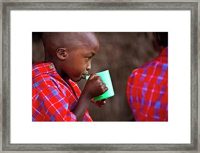 Boy Drinking Framed Print by Matthew Oldfield