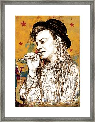 Boy George - Stylised Drawing Art Poster Framed Print by Kim Wang