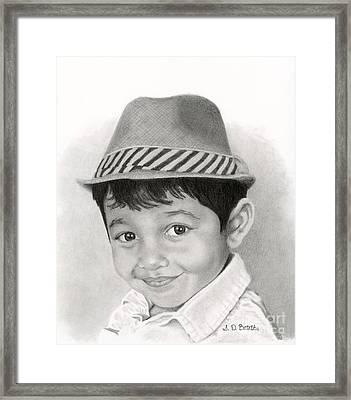 Boy In Fedora Framed Print by Sarah Batalka