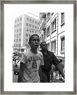Boy In The Crowd - Sao Paulo Framed Print by Julie Niemela
