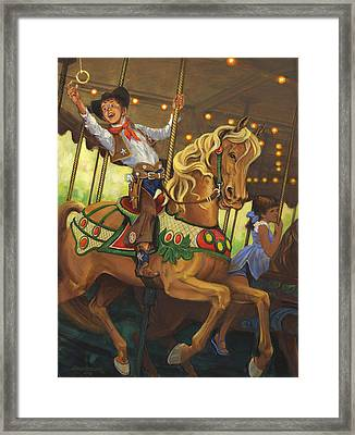 Boy On Carousel Horse Framed Print by Don  Langeneckert