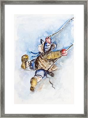 Boy On Swing Framed Print by Irina Gromovaja