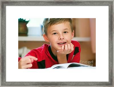 Boy Reading Book Portrait Framed Print by Michal Bednarek