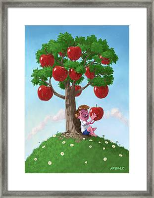 Boy With Apple Tree Framed Print by Martin Davey