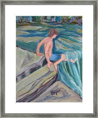 Boy With Foot In Falls Framed Print by Betty Pieper
