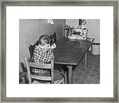 Boy With Shooting Game Framed Print by Underwood Archives