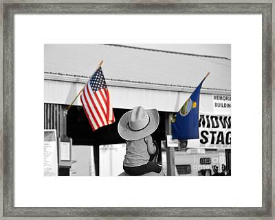 Boy With Two Flags Framed Print by Catherine Sherman