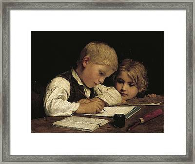 Boy Writing With His Sister, 1875 Oil On Canvas Framed Print by Albert Anker