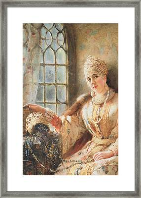 Boyar's Wife At The Window Framed Print by Konstantin Egorovich Makovsky