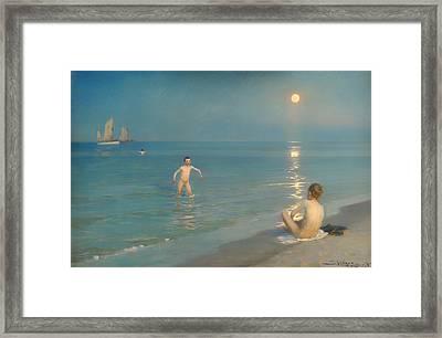 Boys Bathing At Skagen Framed Print by Mountain Dreams