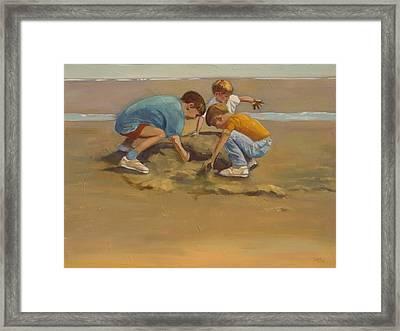 Boys In The Sand Framed Print by Sue  Darius