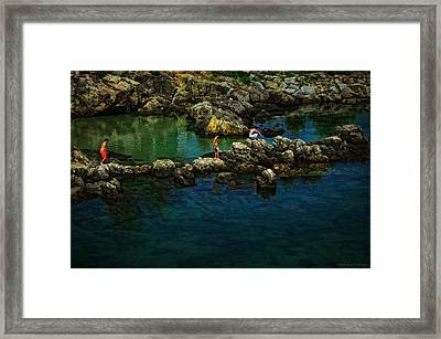 Boys On The Rocks Framed Print by Mary Machare