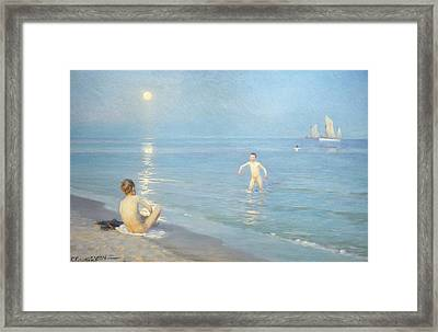 Boys On The Seashore In A Summer Night At Skagen 1899  Framed Print by Peder Severin Kroyer