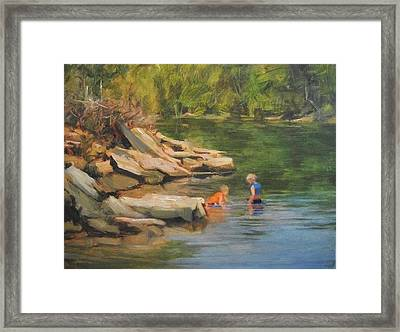 Boys Playing In The Creek Framed Print by Margaret Aycock