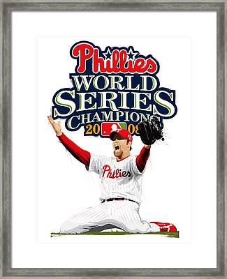 Brad Lidge Ws Champs Logo Framed Print by Scott Weigner